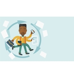 Black guy with multitasking job vector