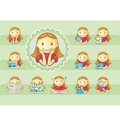 Icons of cute girls vector