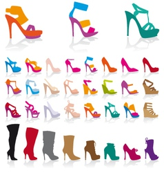 Set of detailed colorful shoes vector