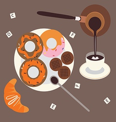 Turkish coffee and sweet breakfast vector