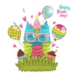 Happy birthday greeting background with an owl vector