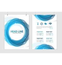 Abstract geometric blue round brochure vector