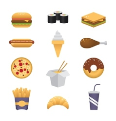 Colored fast food icons vector