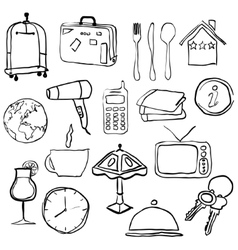 Doodle hotel pictures vector