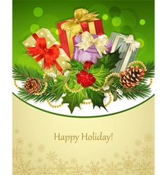 Holiday background tree pine conesgifts holly and vector