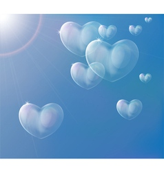 Hearts soap bubbles vector