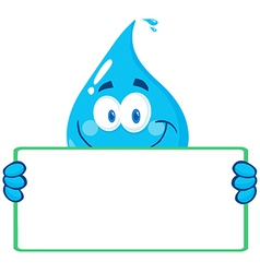 Water drop character holding a banner vector