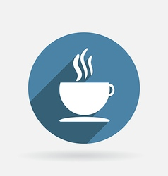 Cup of hot drink circle blue icon with shadow vector