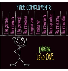 Funny with message free compliments please take vector