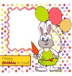 Card with bunny girl vector