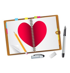 Open diary with a red heart vector