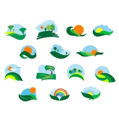 Summer and autumn agricultural landscape icons vector