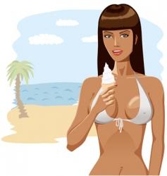 Bikini girl with ice-cream 04 vector