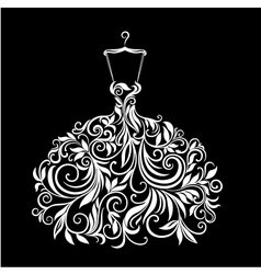 White dress with floral ornament vector
