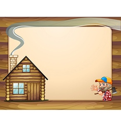 An empty template with a house and a woodman vector