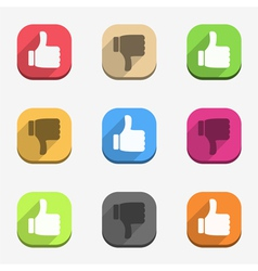 Thumbs up and thumbs down icons vector