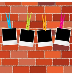 Blank photo frames with clothes pegs on rope over vector