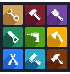 Working tools flat icon set 13 vector