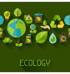 Ecology seamless pattern with environment icons vector