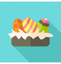 Easter nest with eggs vector