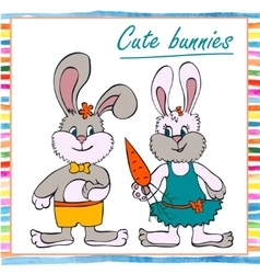 Two little boy and girl bunny vector