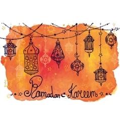 Lantern garland of ramadan kareemdoodle vector