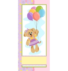 Babys banner with dog in pink colors vector