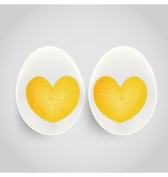 Boiled egg with yolk in heart shape vector