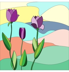 Floral mosaic background tulips vector