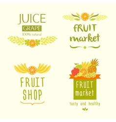 Fruit shop logo juise label vector