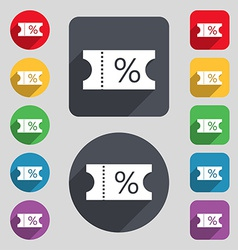 Ticket discount icon sign a set of 12 colored vector