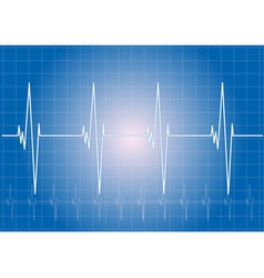 Heart rhythm on the blue display vector