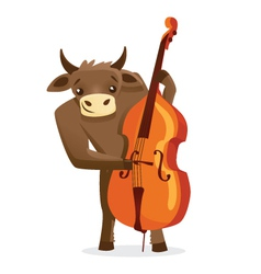 Musical animals bull bass vector