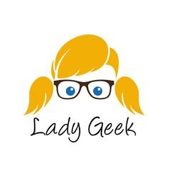Lady geek logo template vector
