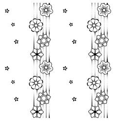 Black and white flower pattern vector