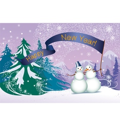Christmas two snowmans in the forest vector