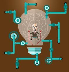 Old business man create ideas concept vector