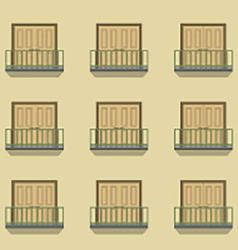 Closed doors with balcony vintage style vector