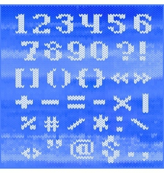 Knitted alphabet white bold serif letters vector