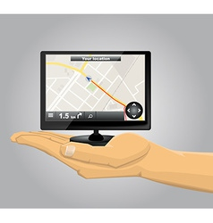 Hand holding a gps vector