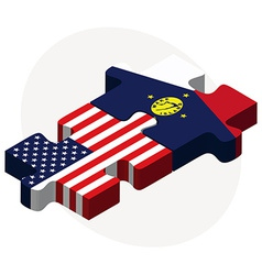 Usa and wake island flags in puzzle vector