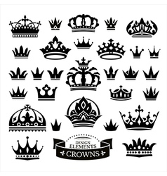 Set of various crowns isolated on white vector