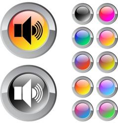 Sound multicolor round button vector