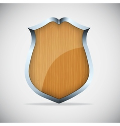 Shield with wood texture vector