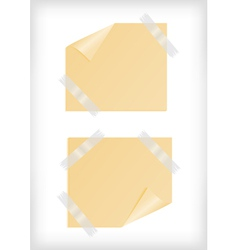 Yellow stickers with curled corner and scotch tape vector