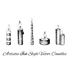 Artistic ink style collection of candles vector