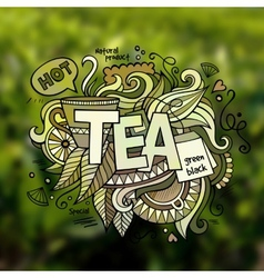 Tea hand lettering and doodles elements vector