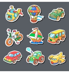 Cartoon collection of transportation - colored vector