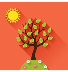 Background with summer tree in flat design style vector
