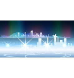 Polar night city vector